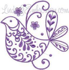Bird 5 - fanciful, fantasy bird with textured motifs machine embroidery design