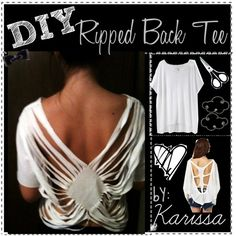 DIY; Ripped Back Tee Shirt,  Polyvore  What you need;     plain oversized t-shirt+scissors+design.    How to; (based off the picture)  1. Get your scissors and start from the back of the sew line of the sleeve. Get the scissors and cut long strips to the middle.  2. Stop once you get to the middle.  3. Repeat all along the side, and the other side.   4. Cut a big chunk off, make a vneck , but veryyy big.   This will make the diamond shape.  5. At the bottom, cut a very small vshape.  done.