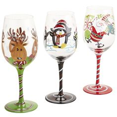Christmas wine glasses wines, holiday, christma wine, christma stemwar, glasses, wine glass, christmas, penguin, glass paint