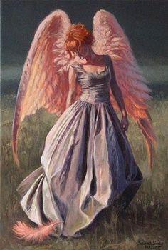 joanna sierko, angel wings, red hair, painting art, pink wing, fantasy angel, angels, feather, polish artist