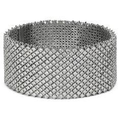 Blue Nile Statement Diamond Bracelet in 18k White Gold (27.14 ct. tw.) ($40,500) found on Polyvore