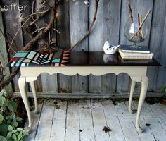 Love the Design on the table top.   http://www.designsponge.com/2011/12/before-after-pretty-painted-furniture-part-i.html for complete details on how to DIY