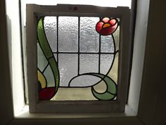 Antique English Stained Glass Window 19X20