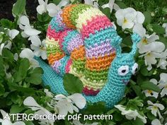 Crochet pdf pattern RAINBOW SNAIL by ATERGcrochet on Etsy, €2.75