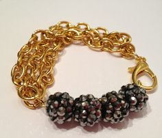 Gold Triple Chain Shamballa Bracelet by PennyChicDesigns on Etsy