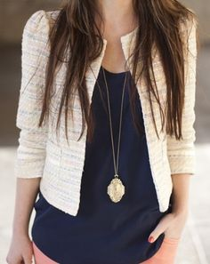 This fall, upgrade your look with textured jackets! They're great for layering over a blouse and skinny jeans!