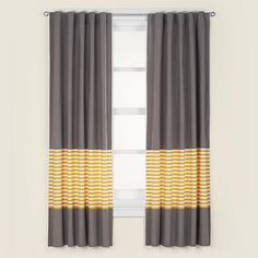 The Land of Nod | Kids' Curtains: Kids Grey & Yellow Curtain Panels in Curtains & Hardwares