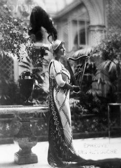Opera star Ganna Walska wearing a fancy dress costume designed for her by Lanvin, French, 1926. Miss Walska was generally considered one of the most beautiful women in the world. This fact proved extremely important to Walska's career as she apparently had a terrible voice and spent the majority of her career using her looks to ensnare of series of six increasingly wealthy husbands.