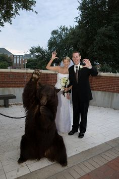Best wedding present ever...Joy one of the Baylor Bears made a surprise visit to our ceremony. Sic 'Em! photo taken by Fleeting Moments Studio
