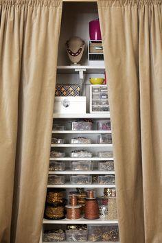 hidden #storage. Keep your #crafts behind a curtain