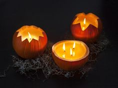 Poured Candle Pumpkins >> http://www.diynetwork.com/decorating/11-unusual-ways-to-decorate-a-halloween-pumpkin/pictures/index.html?i=1?soc=pinterest