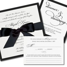 invit idea, font, ribbons, wedding invitations, black white, card, wedding stationery, bows, unique weddings