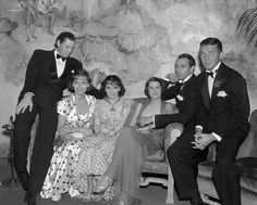 Johnny Weismuller, Adrienne Ames, Lupe Velez, Rocky, Gary, and Bruce Cabot - Johnny and Lupe, Adrienne and Bruce, and Gary and Rocky were all recently married and were out at the same club one night early in 1934 and this photo was arranged for a magazine