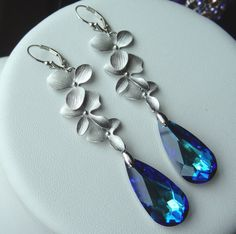 Sterling+Silver+Orchid+and+Swarovski+Crystal++by+YMCDesigns,+$38.50