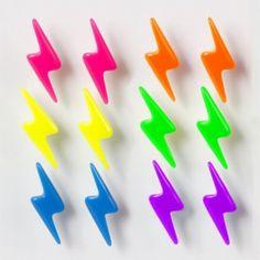 Neon Lightning Bolt Stud Earrings Set of 6