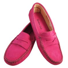 London Sole hot pink nubuck driving shoe