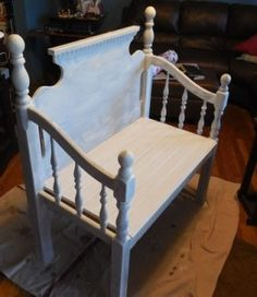CUT IT OUT!   People are so creative.  Bench from an old headboard.