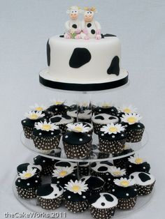 Cow themed wedding cake