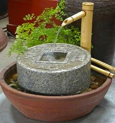 """Water Fountains are popular in Feng Shui.  Water features are best in the East, Southeast, Southwest and North sectors of the home. Place them near a door or window. The """"perfect"""" spot for fountains is determined from a feng shui analysis of the home using a compass. #FengShui #water fountain http://patricialee.me/8-good-luck-symbols/"""