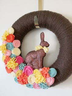 Chocolate Easter Wreath  Yarn and Felt Wreath by TheBakersDaughter, $42.00