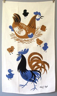 Vintage Tammis Keefe Linen Tea Towel - Chicken Family. $22, via Luola on Etsy.