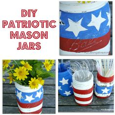 DIY Patriotic Mason Jars- Create festive DIY patriotic mason jars with a little paint and creativity. Use as hostess gifts, table centerpiece or as a vase with flowers www.H2OBungalow.com
