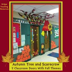 Join up with the teacher next door to you and design autumn themed classroom doors beside each other.  I love these two side by side autumn tree and scarecrow classroom doors!