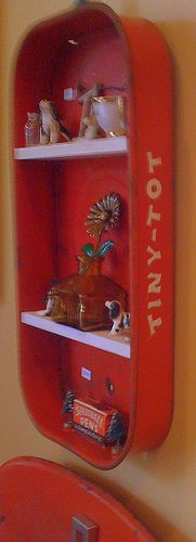 little red wagon - Side view of Vintage shelf by bridiemurphy  Oh!!  I have a broken old wagon I could use!!  Cute!!