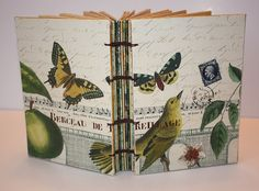 Yellow Finch and Butterfly Handmade Journal by Thenibandquill, $32.00-Lovely!