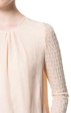 BLOUSE WITH LACE SLEEVES from Zara
