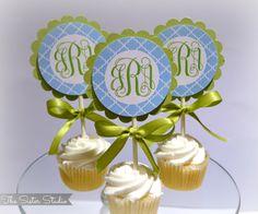 Vine Monogram Cupcake Toppers.