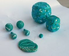 Polymer clay emerald beads