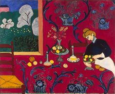 desserts, henrimatiss, 1908, color, harmoni, henri matisse, artist, paintings, red rooms