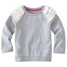 ruffle shoulders on a plain sweatshirt - oh so cute!