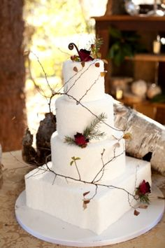 white wedding cake with branches, pine needles and roses For more lovely wedding inspo follow Mary Buffington Photography on Pinterest!