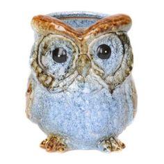 blue ceram, decor galor, owl planter, kirkland, ceramics