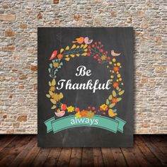 INSTANT DOWNLOAD. Printable Thanksgiving Chalkboard Poster.