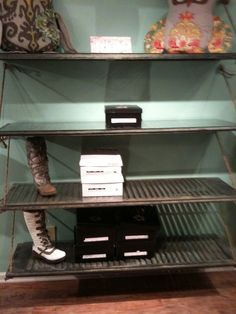 shutter shelves held up by rope >>>> KAY!!!!! LOVE THIS!!!!!!!!!!