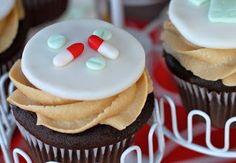 Nursing Graduation Party Cupcakes with fondant toppers