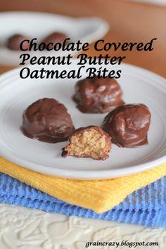 Grain Crazy: Chocolate Covered Peanut Butter Oatmeal Bites (gluten free)