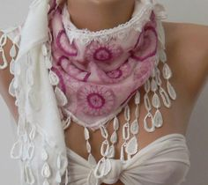 White  pink /Elegance Shawl / Scarf by womann on Etsy, $16.90