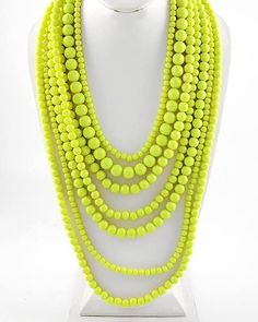 Citrus Mistress Lime Green Draped Bead Statement Necklace $46 #statementjewelry #jewellery #jewlry
