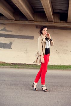 Red jeans and trench