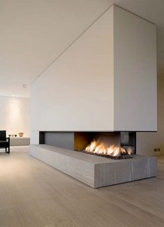 3 faces fireplace with stone base