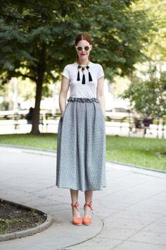love her skirt...Christene Barberich  Repin Via: Clare Vivier