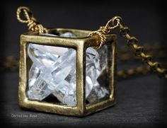 CRYSTAL CUBE NECKLACE  Smooth Shiny White by ChristinaRoseJewelry, $71.00