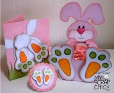 Trio of Bunnies  Fun shaped bunny box, treats look like they're tucked in the bunnies lap. Carrots for the bottoms of his feet, set includes box, A2 card and gift tag.