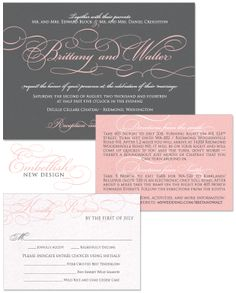 Embellish Wedding Invitation in Pewter and Blush | by The Green Kangaroo, Inc.
