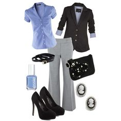 Work: Grey, light blue and black LOVE all of this