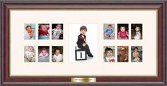 """Showcase your baby's progression from infant through their first birthday with our Baby's First Year picture gallery frame. The museum-quality off-white mat has 12 openings for 1-1/2"""" x 2"""" photos and a single 3-1/2"""" x 5"""" center window for a first year portrait or current photo. The frame features an engraved brass plate customized with two lines of any text of your choice. Great gift for new parents and grandparents!"""